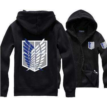 Black Attack on Titan Zip Hoodie (Regular Style) anime-store