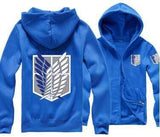 Blue Attack on Titan Zip Hoodie anime-store