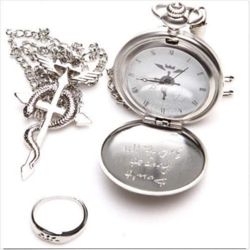 Fullmetal Alchemist Edward Elric Pocket Watch with Necklace & Ring anime-store