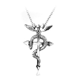 Fullmetal Alchemist Red Eye Snake Cobra Cross Necklace anime-store
