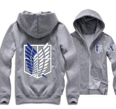 Gray Attack on Titan Zip Hoodie anime-store