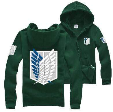 Green Attack on Titan Zip Hoodie anime-store