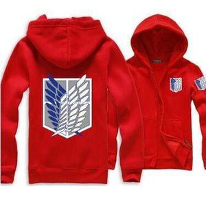 Red Attack on Titan Zip Hoodie anime-store