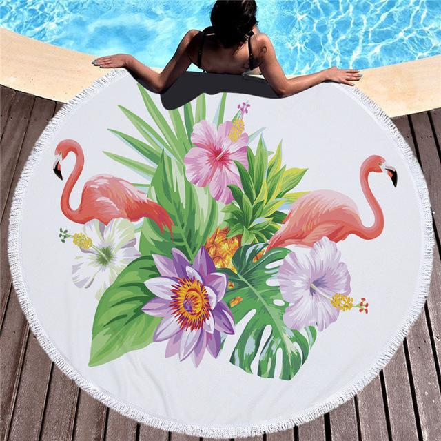 Towel: Flamingos & Big Flowers - Towels - Elements of Summer