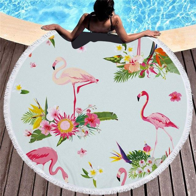 Towel: Flamingos & Pretty Flowers - Towels - Elements of Summer