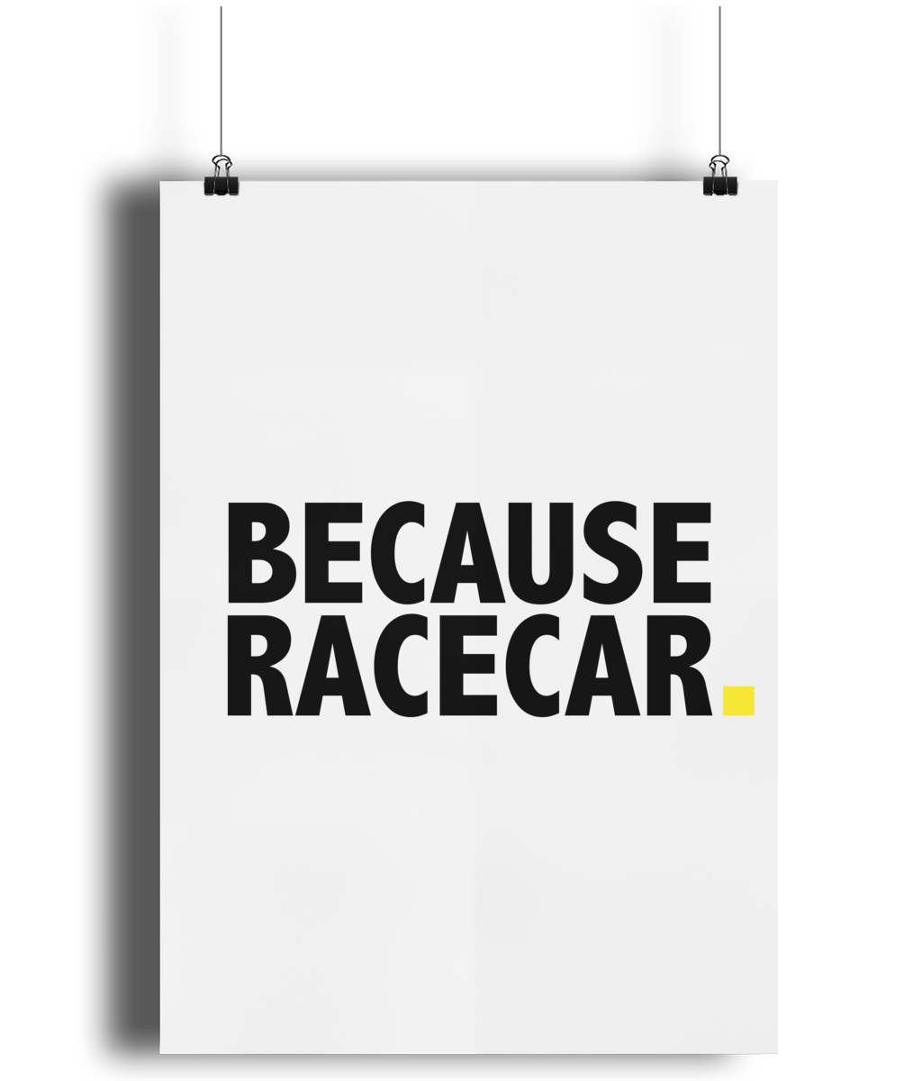 Because Racecar Poster (yellow)