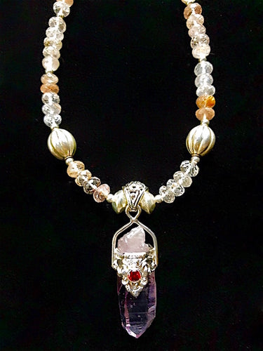 amethyst crystal w/ garnet & rutilated quartz