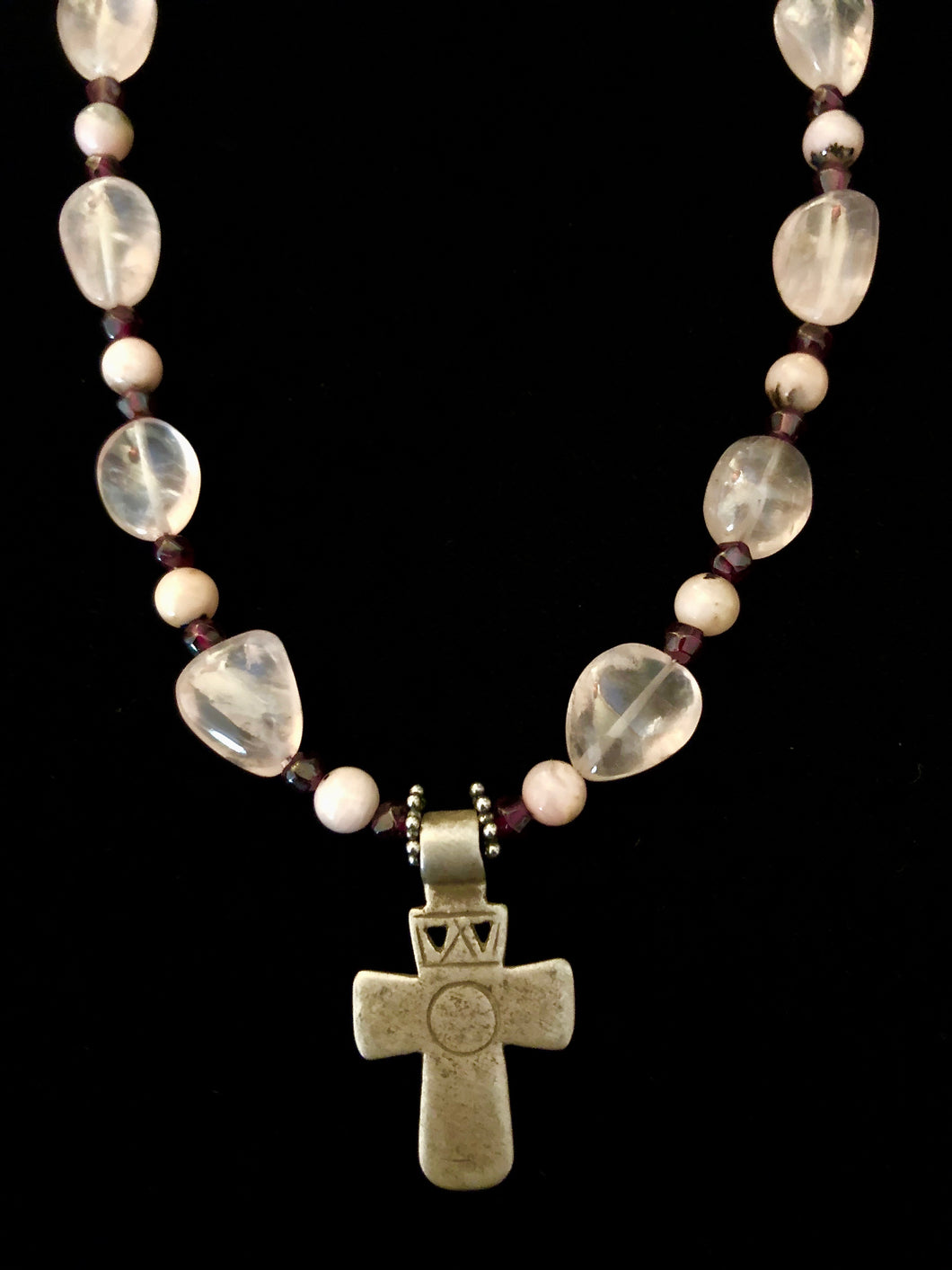 Old Ethiopian Cross w/ Rose Quartz, Peruvian Opal & Garnet
