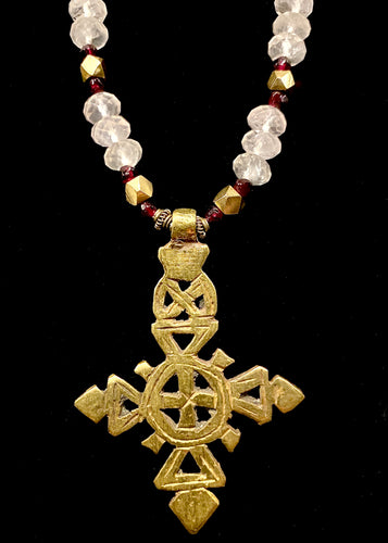 large coptic cross w/ rose quartz & garnet
