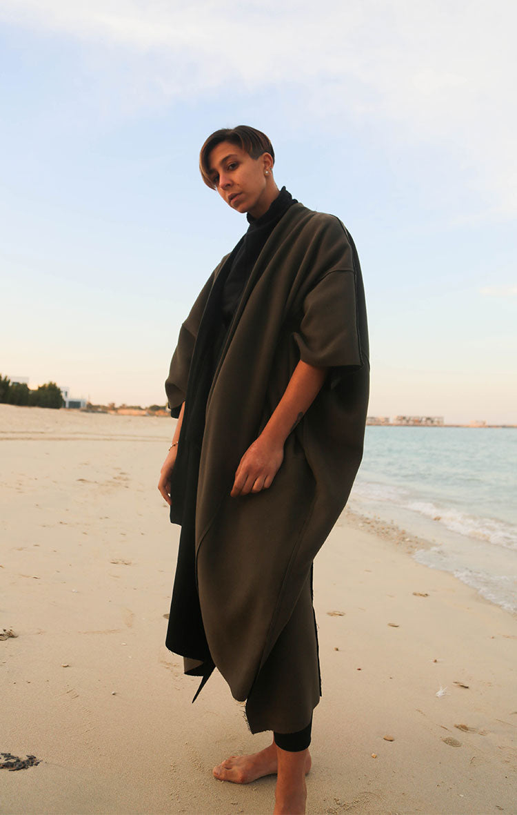 Reversible Abaya Green Black