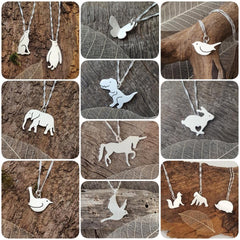 Handmade animal pendants in sterling silver