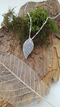 Fine silver leaf shaped pendant with vine and flower texture - Anna Ancell Jewellery