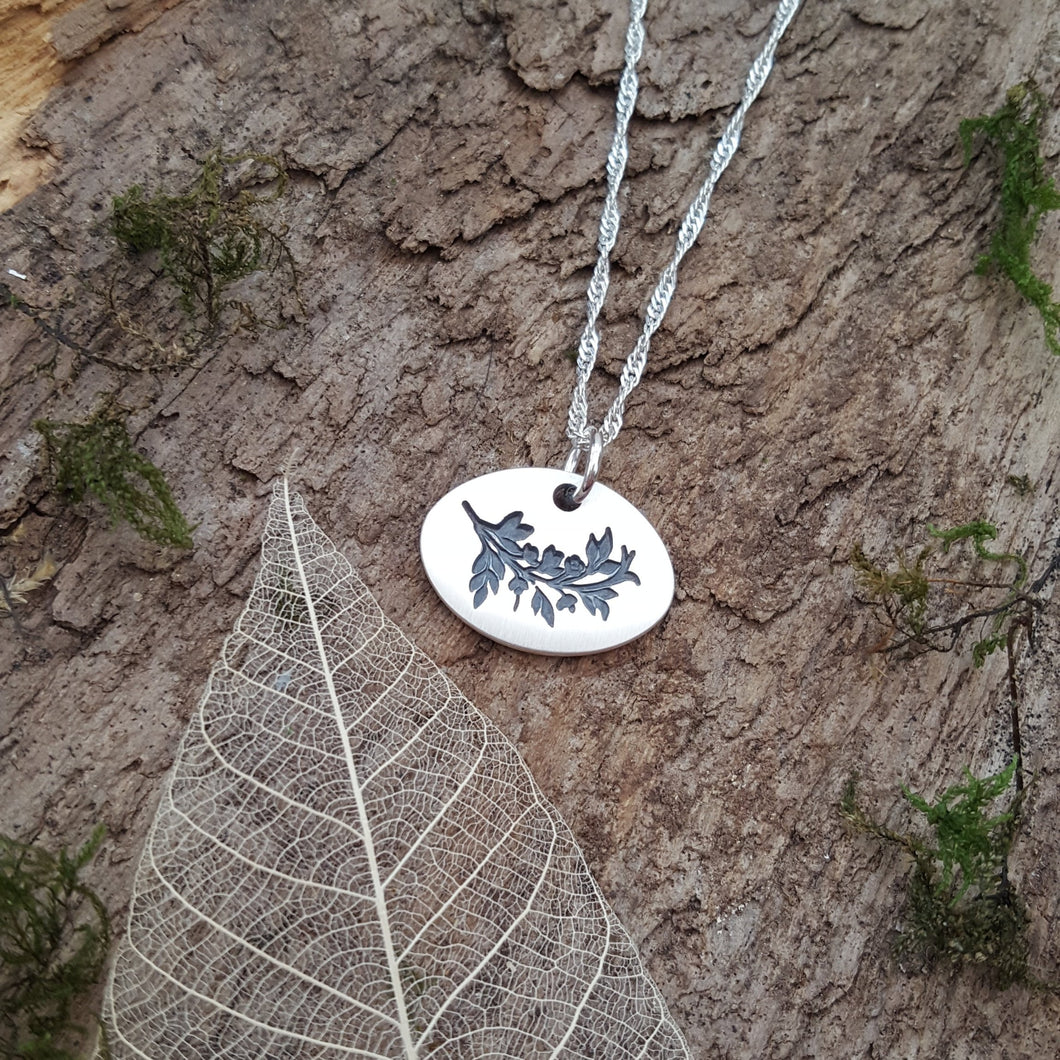 Fine silver leaves/branch pendant - Anna Ancell Jewellery