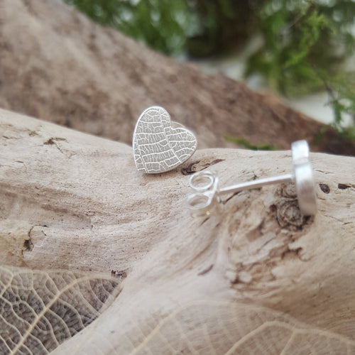 Fine silver leaf textured mini heart earrings - Anna Ancell Jewellery