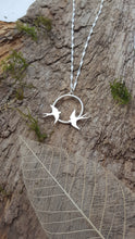 Sterling silver swallows in flight pendant - Anna Ancell Jewellery
