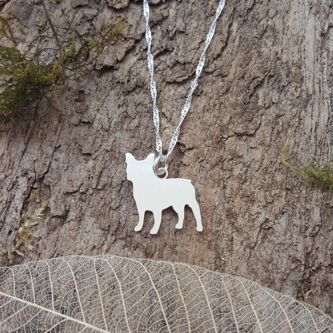 Sterling Silver French bulldog pendant - Anna Ancell Jewellery