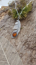Sterling silver feather pendant with a stunning Amber gemstone - Anna Ancell Jewellery