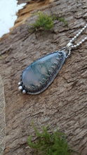 Teardrop shaped beautiful moss agate pendant in sterling silver - Anna Ancell Jewellery