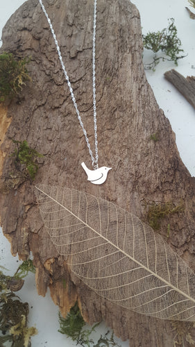Sterling silver Wren pendant - Anna Ancell Jewellery