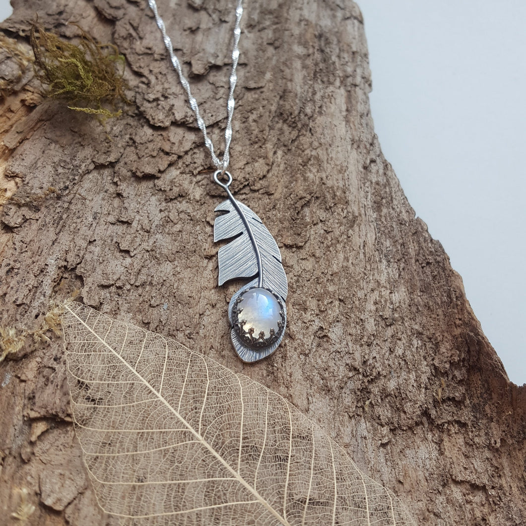 Sterling silver feather pendant with a stunning moonstone gemstone - Anna Ancell Jewellery