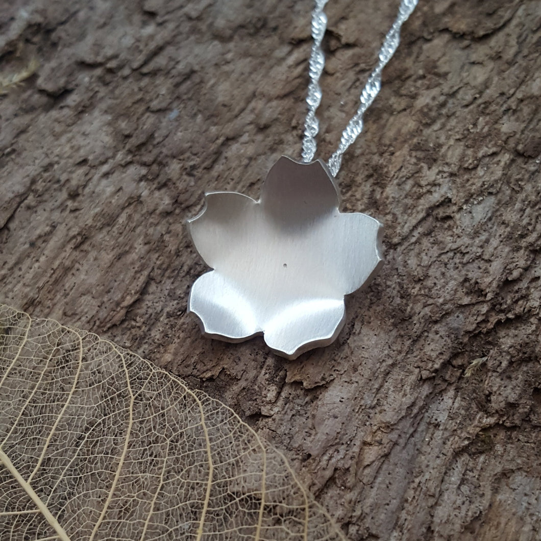 Sterling silver cherry blossom flower - Anna Ancell Jewellery