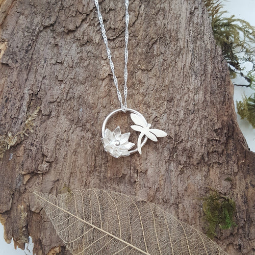 Sterling silver Dragonfly and flower pendant - Anna Ancell Jewellery