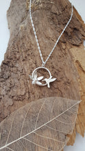Sterling silver Hummingbird and flower pendant - Anna Ancell Jewellery