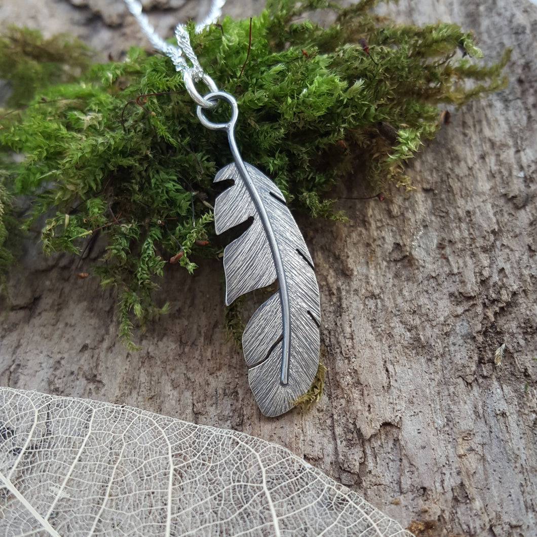 Sterling silver feather pendant - Anna Ancell Jewellery