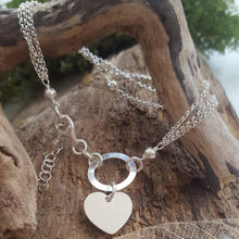 Triple strand sterling silver heart charm bracelet - perfect for engraving - Anna Ancell Jewellery