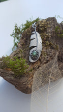 Sterling silver feather pendant with a stunning labradorite gemstone - Anna Ancell Jewellery
