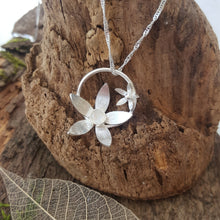 Sterling silver flower pendant set with a moonstone - Anna Ancell Jewellery