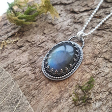 Oval shaped Labradorite pendant in sterling silver - Anna Ancell Jewellery