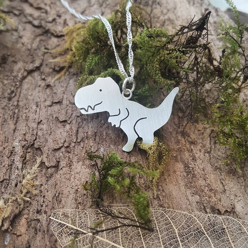 Sterling silver T-Rex pendant - Anna Ancell Jewellery