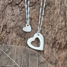 Heart Duo necklaces with a brushed finish - Anna Ancell Jewellery