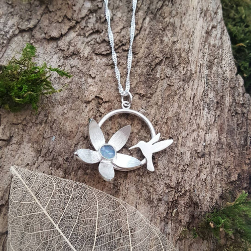Sterling silver Hummingbird and flower pendant set with a beautiful opal cabachon - Anna Ancell Jewellery