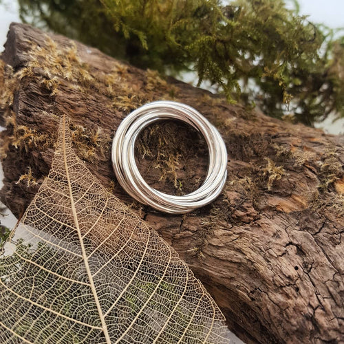 Handmade 925 Sterling Silver 5 band Entwined Ring - fidget, fiddle ring - Anna Ancell Jewellery