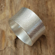 Sterling Silver wide leaf textured ring - Anna Ancell Jewellery