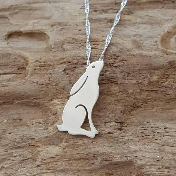 Sterling silver gazing Hare/Rabbit - Anna Ancell Jewellery