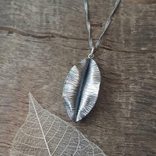 Sterling silver hand forged leaf pendant - Anna Ancell Jewellery