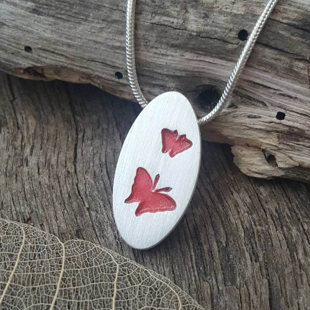 Fine silver butterfly pendant - Anna Ancell Jewellery