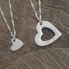 Heart Duo necklaces with leaf vein texture - Anna Ancell Jewellery