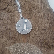 Sterling Silver Sail boat pendant - Anna Ancell Jewellery