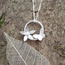 Sterling silver Butterfly and flower pendant - Anna Ancell Jewellery