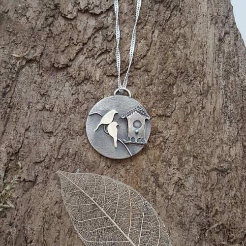 Sterling silver love birds and birdhouse pendant - Anna Ancell Jewellery