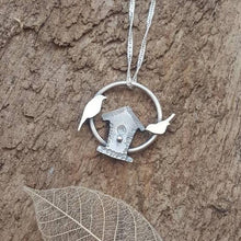 Sterling silver bird house and birds pendant - Anna Ancell Jewellery