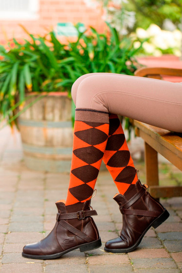 HKM ''Chequered Golden Gate'' Riding Socks
