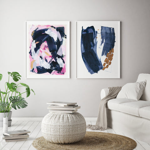 Pink and blue modern abstract artwork on the wall