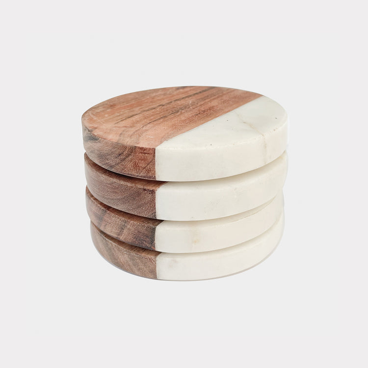 ASPEN ROUND WOOD MARBLE COASTERS