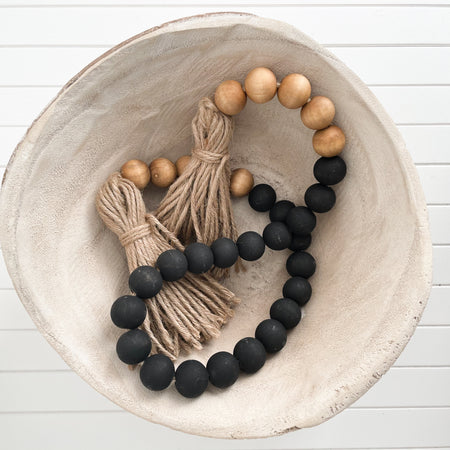 BLACK AND WALNUT WOODEN BEADS WITH JUTE TASSELS