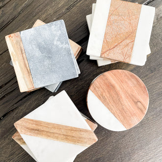 REID SQUARE MARBLE WOOD COASTERS